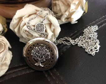 Tree of life locket, tree of life necklace, tree of life gift, family tree photo locket, keepsake necklace