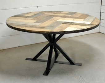 Industrial Round Wood Dining Table, Herring Bone Round Dining Table, Round Wood Table, Rustic Dining Table, Wood Furniture, Modern Dining