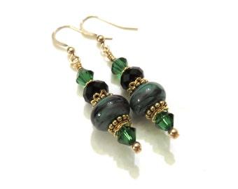 Black & Green Lampwork Earrings With Black and Green Swarovski Crystals, Black Earrings, Green Earrings, Lampwork Jewelry