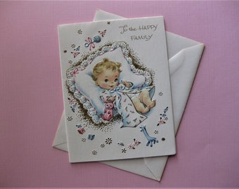 Vintage Embossed, with Gold Highlights, New Baby Card