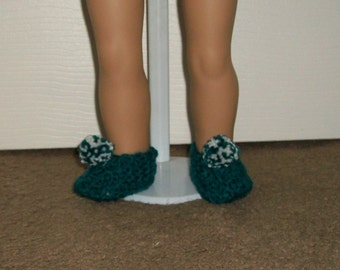 18 inch  Doll Slippers in Dark Teal