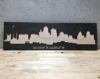 Kansas City Skyline Carved Burnt Wood