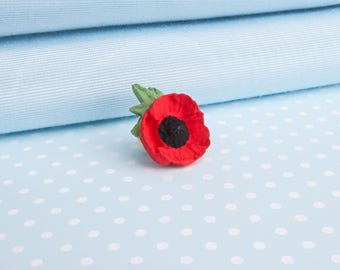 Poppy with Leaf Lapel Pin