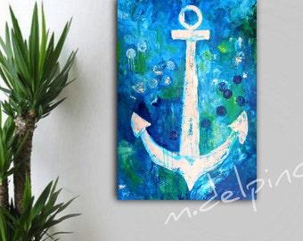 Couteau à palette épais XL ancre abstrait peinture, art de plage, bord de mer coloré nautique peinture, l'art beach house, chambre d'enfant, salle de séjour,