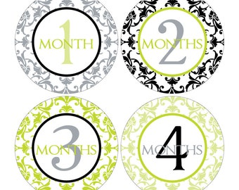 12 Monthly Baby Milestone Waterproof Glossy Stickers - Just Born - Newborn - Weekly stickers available - Design M007-08