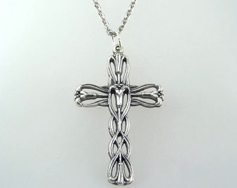 Swirl Cross Necklace