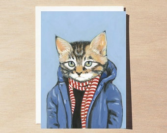 Brewster - Greeting Card - Blank Inside - Cats In Clothes