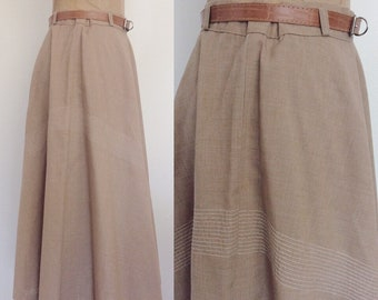 1970's Beige Full Skirt w/ Chevron Stripe & Belt Size Medium Large by Maeberry Vintage