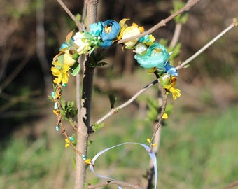 aqua Floral crown Boho flower crown wedding flower crown bridal floral crown woodland head wreath girl floral crown turquoise yellow