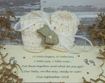 SHIPS SAME DAY, Grandparent baby announcement, Baby Announcement, Newborn Baby Booties, Pregnancy announcement, Grandparent pregnancy reveal