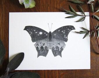 Starry sky butterfly - 5x7 print