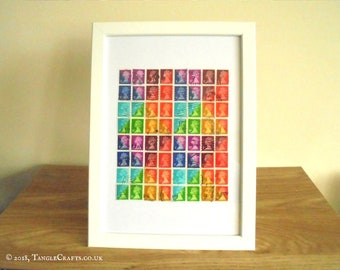 Multicolor Geometric Wall Art | Framed Rainbow Stamp Art | Retro British Recycled Stamps | Upcycled Hipster Office Decor | LGBT rainbow gift