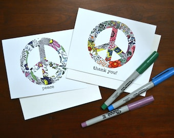 Peace sign cards. Thank you notes.