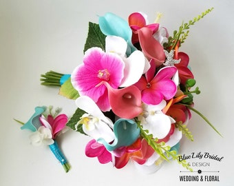 Beach Bridal Bouquet in Guava, Coral, Fuchsia, Malibu Blue  and White with Real Touch Plumeria,  Calla Lilies, Orchids and Silk Hibiscus