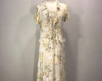 pastel floral rayon empire waist tank dress Dress Barn summer dress jacquard lace print dress