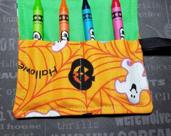 Halloween Mini Crayon Keeper Roll Up Holder  4-Count Party Favor - Smiling Ghost