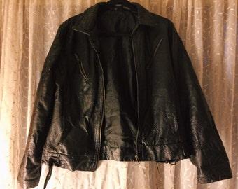 Vintage Jet Black Patchwork Leather Jacket