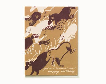 Spirited Horses Birthday Card