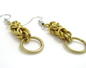 Gold Byzantine Chainmaille Earrings - Ready to Ship