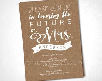 Soon-to-be Mrs. Kraft Paper Invitation - DIY Printable