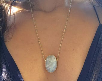 Large Moonstone Necklace // Moonstone Necklace // Moonstone Gold Necklace