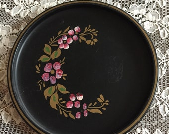 Vintage Metal Black TOLE Tray Hand Painted Shabby Chic Pink Floral ECS