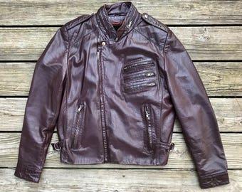 ON FIVE SADDLERY Vintage Brown Cafe Racer Leather Motorcycle Jacket Adult 40