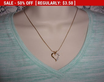 Vintage blue and clear rhinestone heart pendant necklace, estate jewelry