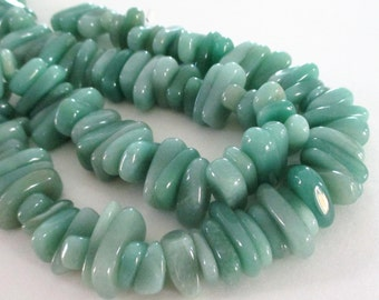 "Green Jade Beads - Chunky Nugget Beads - Green Smooth Freeform Irregular Gemstone - Thick Chip Nugget - 7.5"" Strand - DIY Jewelry Making"