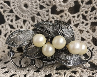 1960's Filigree & Pearl Berry Brooch