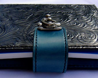 Refillable Leather Folio A6 Compendium - Floral Embossed - Black / Turquoise