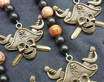 Set of 10 Skull and Crossbones Pirate Keychains / Fish Extender Gifts