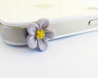 Purple Flower Cellphone / iPhone Universal Dust Plug AntiDust Plug For Headphone Jack