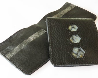 SLIMLINE Black Leather Wallet with Blue Snake Print Hexagon detail, NO COINS, Handmade wallet, Leather Wallet, Psychedelic, Festival