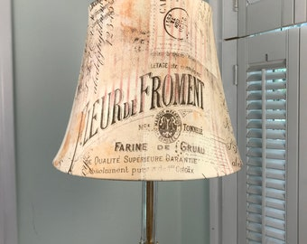 French Country Lamp Shade, French Lamp Shade, French Script Lamp Shade, Beige and Brown Lamp Shade,