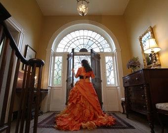 Halloween Orange and Black Wedding Dress Bridal Gown by Award Winning Bridal Salon
