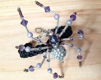 Beaded Spider Bracelet ~ Purple, Lavender, & Silver Sparkles ~ Major General Celestial Twilight
