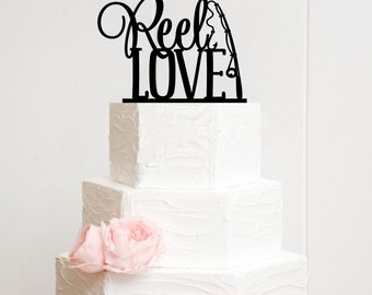 Wedding Cake Topper, Reel Love Wedding Cake Topper, Fishing Wedding Cake Topper, Wedding Cake Topper for Fisherman, Custom Cake Topper