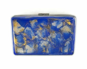 RFID Metal Wallet with Card Organizer Hand Painted Enamel Cobalt Blue with Gold Quartz Inspired Personalized and Custom Color Options