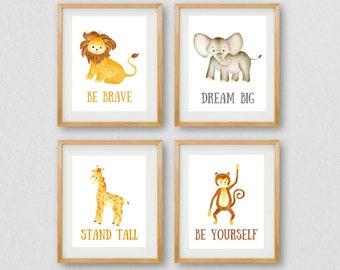 Nursery Wall Art, Nursery PRINTABLE, Gallery Wall Prints, Jungle Wall Art, Baby's Room Art, Instant Download, Animal Wall Art, Baby Animals