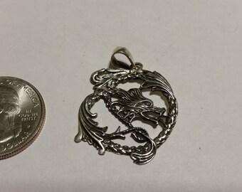 Vintage sterling silver dragon pendant badr