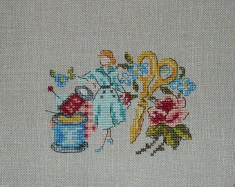 Embroidery on linen seamstress v pattern cross stitch (counted)