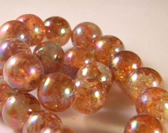 10 glass beads iridescent Rainbow - translucent honey - 12 mm - PE69