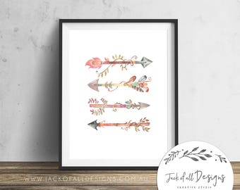 Watercolour Arrows - Wall Art Print