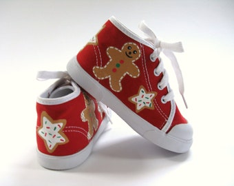 Christmas Shoes, Gingerbread Sugar Cookies, Red Hi Top Sneakers Hand Painted for Baby and Toddler