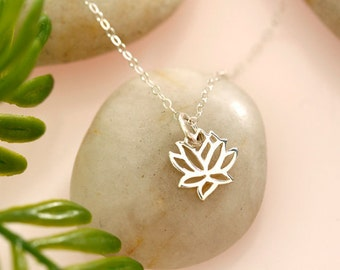 Tiny Sterling Silver Lotus Necklace, Tiny Gold Vermeil Lotus Necklace, Tiny Rose Gold Lotus Necklace, bridal, best friends
