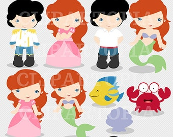 Princess Mermaid Digital Clipart for Personal and Commercial Use