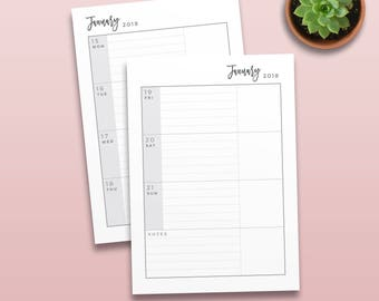 2018 Daily Horizontal Planner, Printable Planner Inserts, Daily Organiser for 6 Hole binder, Daily Planner Kit, Printable Calendar, DP01
