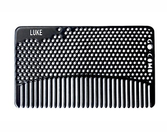 Personalized Matte Black Fine Tooth Hair Comb - Wallet & Travel Size  - GoComb
