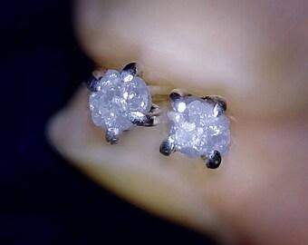 Raw White Diamond Sterling Silver Stud Earrings/Rough Diamond Studs Earrings/Minimalist Diamond Studs/Dainty Diamond Studs/Raw Diamond Studs